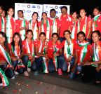 Indian women hockey arrive at the Indira Gandhi International airport