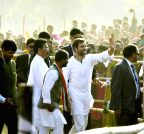 Jamshedpur: Rahul Gandhi during a rally