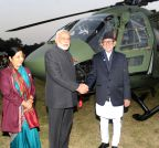 Kathmandu (Nepal): PM Modi hands over the Dhruv ALH to Nepal Army