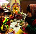 Kolkata: Children offer prayers to goddess Saraswati