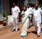 Kolkata: Mamata Banerjee with Sovan Chatterjee and Firhad Hakim at her residence