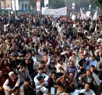 Lahore (Pakistan): Members of the All Pakistan Clerks Association shout slogans against rising inflation