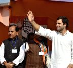 Lathehar: Rahul Gandhi during an election rally