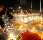 Lucknow: Sportswomen make 'Rangolis' on the eve of Diwali