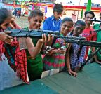 Nagpur: Girls at a weapons exhibition