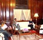 New Delhi: Najeeb Jung, Bassi call on Rajnath Singh