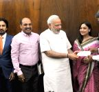 New Delhi: Kapil Dev contributes to Prime Minister's National Relief Fund