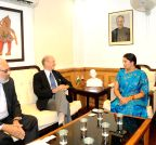 New Delhi: Brookings Institution chief calls on Smriti Irani