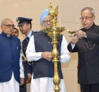 New Delhi: President Mukherjee during birth centenary celebrations of Ch Ranbir Singh Hooda