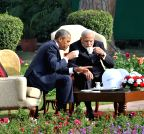 New Delhi: 'Chai pe charcha' at Hyderabad House - Modi-Obama
