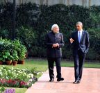 New Delhi: Modi and Obama take a stroll in the garden of Hyderabad House