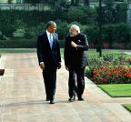New Delhi: Obama-Modi during a stroll after lunch