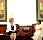 New Delhi: Maria Leissner calls on Sushma Swaraj