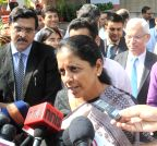 New Delhi: Nirmala Sitharaman talks to press