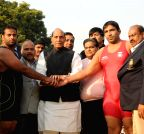 New Delhi: Rajnath Singh witnesses a wrestling match at Grand Wrestling Championship