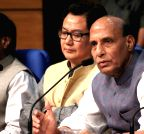New Delhi: Rajnath Singh address a press conference