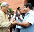 New Delhi: Nitin Gadkari congratulates Sitaram Yechury