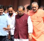 New Delhi: Nitin Gadkari, Giriraj Singh, Radha Mohan Singh at the Parliament