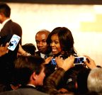 New Delhi: US First Lady Michelle Obama at Siri Fort Auditorium