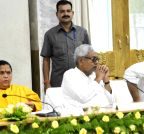Patna: Nitish Kumar-Uma Bharti during a meeting