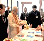 PM Modi during a Hindi books exhibition