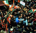 Shimla: Youth Congress stages protest at BJP office in Shimla