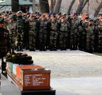 Srinagar: Commander Subrata Saha paying last respect to Col. MN Rai