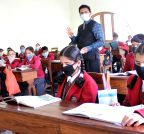 Srinagar: Students wear masks in school