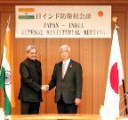 Tokyo (Japan): Manohar Parrikar with Japanese General Nakatani