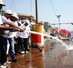 Varanasi: BJP workers clean Ganga Ghats