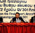 Vientiane (Laos): Deputy minister of Laos Public Works and Transport, reads the final report of aircraft accident investigation of Lao Airlines flight QV301
