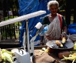 75 Years Old Selvamma sells roasted corn using a solar powered fan
