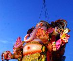 60-feet-tall Ganesh immersed in Hussain Sagar