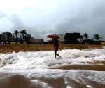 Frothing shore of Marina Beach