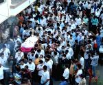Free Photo: A large number of people joined the funeral procession of businessman MANSUKH HIREN, from his home in Thane this evening