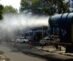 Kolkata : A mist cannon was used to sanitize an area due to increasing numbers of COVID 19 cases Source : WB_KC