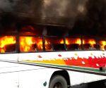 Passenger bus rammed into an auto-rickshaw