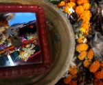 Mirror immersion of Goddess Durga during Dashami puja