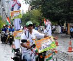 Trinamool worker celebrates party's performance
