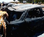 Burnt-out cars - Aero show fire