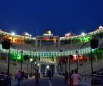 Indo-Pak border illuminated on the eve of Independence Day