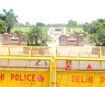 A view of Rajghat closed for people during weekdays lockdown covid-19 in New Delhi