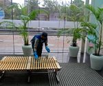 A workers sanitized at a shopping mall which will re-open tomorrow as the State Government announced relaxations on the ongoing lockdown in Kolkata.