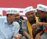 Arvind Kejriwal during auto-driver's rally