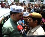 AAP leader Gopal Rai protest at Election Commission headquarters