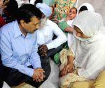 CM Arvind Kejriwal meets family members of farmer Ravinder Singh