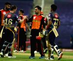 File Photo: Eoin Morgan of Kolkata Knight Riders and Shubman Gill of Kolkata Knight Riders shake hands with Sunrisers Hyderabad players after the match 8 of season 13 of the Dream 11 Indian Premier League