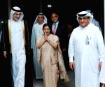 Abu Dhabi: Sushma Swaraj arrives in UAE