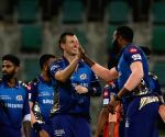 File Photo: James Pattinson of Mumbai Indians celebrates the wicket of Nicholas Pooran of Kings XI Punjab during match 13 of season 13 of the Indian Premier League
