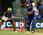 File Photo: Rohit Sharma captain of Mumbai Indians plays a shot during a match against KKR